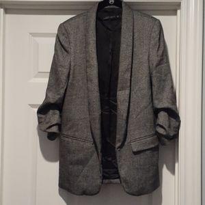 Zara boyfriend ruched sleeve blazer. Size M